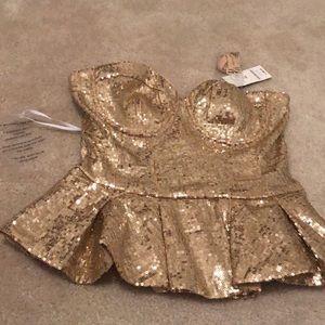 Gold sequin peplum tube top Bebe Xsmall